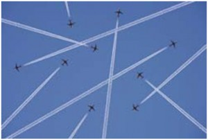 Sketch of 9 aircraft flying in the same control sector