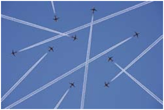 Figure 2. Sketch of 9 aircraft flying in the same control sector